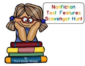 Nonfiction Text Features Scavenger Hunt-Third Grade Whimsy