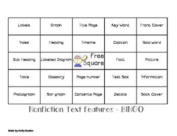 Nonfiction Text features BINGO