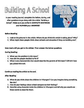 Nonfiction common core aligned reading assignment