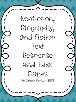 Nonfiction,Biography, and Fiction Task and Response Cards
