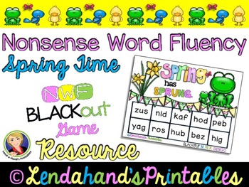 Nonsense Word Fluency BLACKout Bingo Game