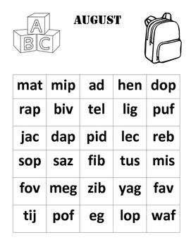 Nonsense Word Fluency Chart (August)