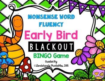 Nonsense Word Fluency Bingo by Ms. Lendahand (Early Bird Theme)