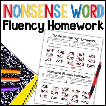 Nonsense Word Fluency Homework