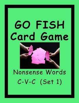 Nonsense Words Go Fish Card Game Short Vowels CVC (Set 1)