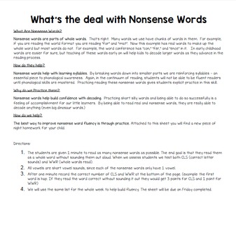 Nonsense Words Homework