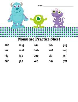 Nonsense Words (Monsters Inc.) DIBELS