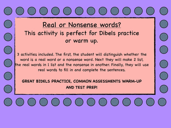 Nonsense verses real words. 3 activities included. Great f