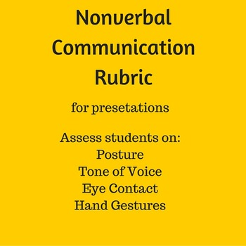 Nonverbal Communication Rubric for Class Presentations