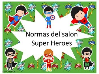 Normas del Salón Motivo Super heroes