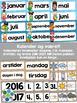 Norsk Klasseromsdekor - Gul pakke - Merkelapper, kalender,