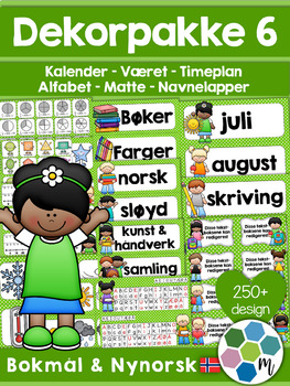 Norsk Klasseromsdekor - Lime pakke - Merkelapper, kalender