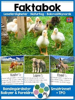 Norsk faktabok: Bondegårdsdyr, foreldre og babyer! Lesing