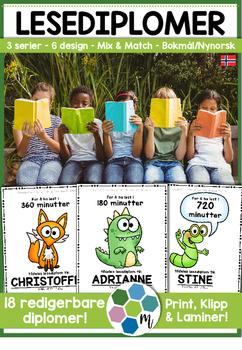 Norske lesediplomer - redigerbare! [BM&NN]