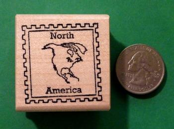 NORTH AMERICA Continent/Passport Rubber Stamp