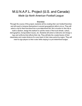 North America Geography Football Franchise Creation Project
