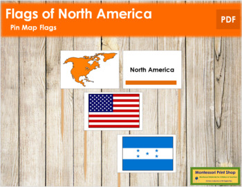 North American Flags - Pin Map Flags (color-coded)