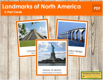 North American Landmarks: 3-Part Cards (color borders)