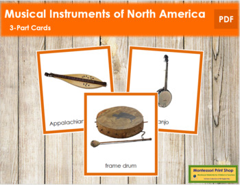 North American Musical Instruments: 3-Part Cards (color borders)