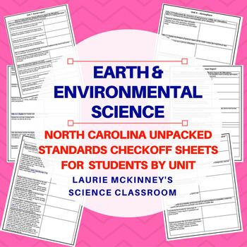 North Carolina Earth Science Standards Check Sheet Bundle Package
