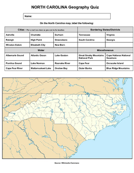 North Carolina Geography Quiz