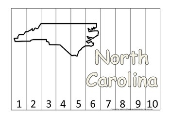 North Carolina Number Sequence Puzzle.  Learn the States p