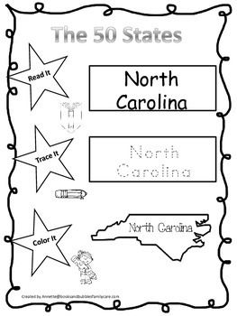North Carolina Read it, Trace it, Color it Learn the State