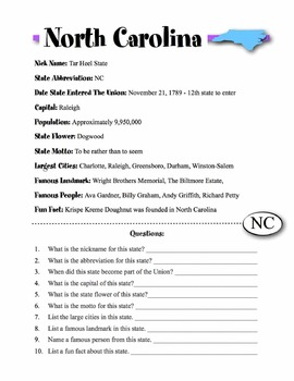 North Carolina State Information & Worksheet