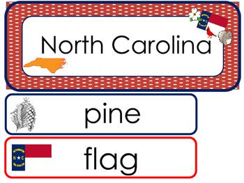 North Carolina State Word Wall Bulletin Board Set. Geograp