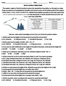 North Carolina's Tallest Peaks (Math place value/rounding/