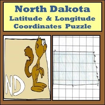 North Dakota Latitude and Longitude Coordinates Puzzle - 1