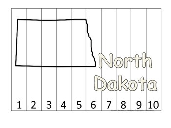 North Dakota Number Sequence Puzzle.  Learn the States pre