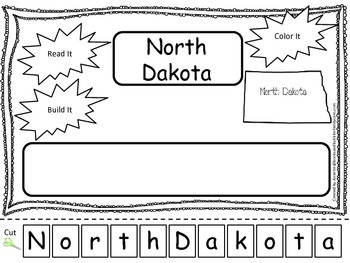 North Dakota Read it, Build it, Color it Learn the States