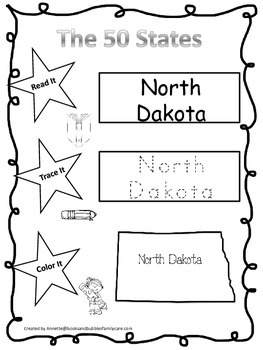 North Dakota Read it, Trace it, Color it Learn the States