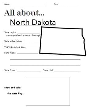 North Dakota State Facts Worksheet: Elementary Version