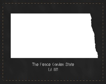 North Dakota State Map Class Decor, Government, Geography,