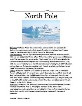 North Pole - Facts History of exploration lesson questions