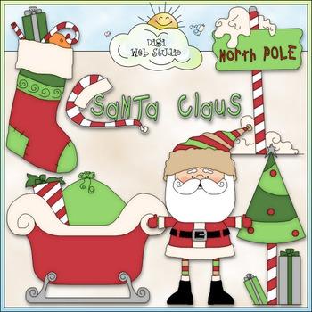 North Pole Santa Claus Clip Art - Christmas Clip Art - CU