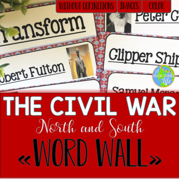 Causes of the Civil War - North and South Word Wall withou