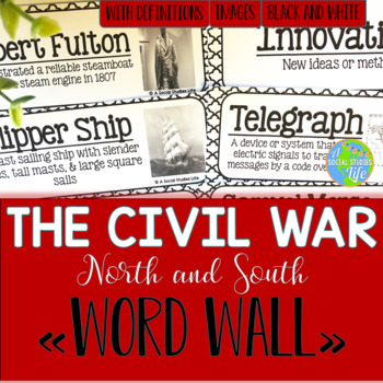 North and South Word Wall - Black and White