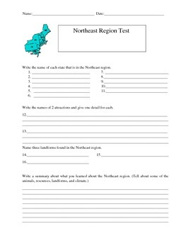 Northeast Region test and word search