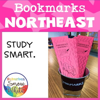 Northeast States Bookmarks with States, Capitals, and Abbr