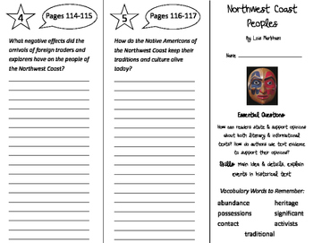 Northwest Coast Peoples Trifold - ReadyGen 2016 4th Grade
