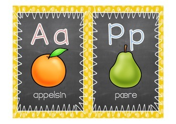 Alfabetplakater med tavlebakgrunn (rød/blå vokaler/konsonanter)