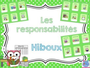 Nos responsabilités - hiboux/ French classroom jobs posters