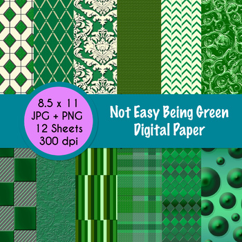 Not Easy Being Green - Digital Paper!