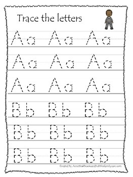 Notable African Americans themed A-Z Tracing preschool wri