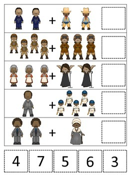 Notable African Americans themed Math Addition preschool p