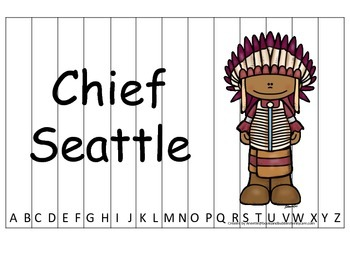 Notable Native Americans (Chief Seattle) Alphabet Sequence