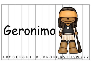 Notable Native Americans (Geronimo) Alphabet Sequence Puzz